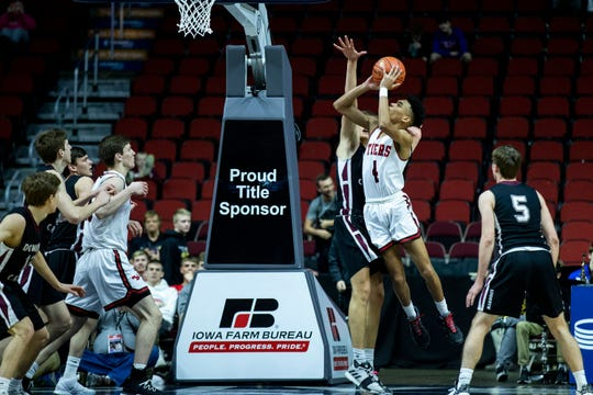 Cedar Falls point guard Trey Campbell hasthe pieces you'd want in a college point guard: length (he's already 6-4),good court vision and instincts (4.4 assistsper game) and good defensive effort.