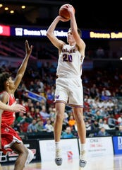 Waukee's Payton Sandfort puts up a shot during the 4A state basketball quarterfinal matchup at Wells Fargo Arena Tuesday, March 10, 2020.