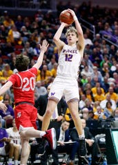 Waukee's Tucker DeVries puts up a shot as North Scott's Sam Kilburg defends during the 4A state basketball quarterfinal matchup at Wells Fargo Arena Tuesday, March 10, 2020.