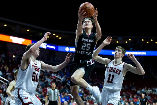 Dowling Catholic's Matt Riedl shoots the ball during the Dowling Catholic vs. Cedar Falls boys' basketball state tournament Class 4A quarterfinal on Wednesday, March 11, 2020, at Wells Fargo Arena in Des Moines.