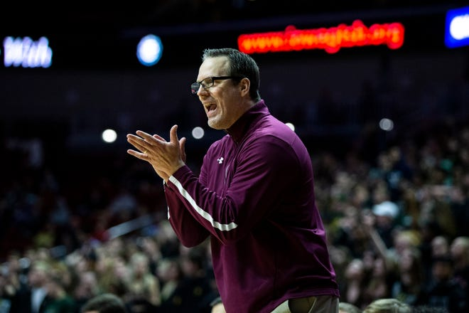 Ankeny Coach Brandt Carlson calls out to his team during the Iowa City West vs. Ankeny boys' basketball state tournament Class 4A quarterfinal on Wednesday, March 11, 2020, at Wells Fargo Arena in Des Moines.