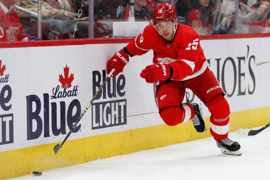 Detroit Red Wings left wing Dmytro Timashov skates to the puck against the Carolina Hurricanes during the second period at Little Caesars Arena on Tuesday, March 10, 2020, in Detroit.