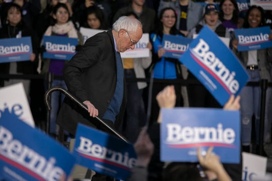 Democratic presidential candidate Sen. Bernie Sanders, I-Vt., speaks during a campaign rally on the campus of the University of Michigan Sunday, March, 8, 2020 a head of the Michigan primaries on Tuesday.