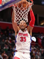 Detroit Pistons forward Christian Wood dunks against the Utah Jazz during the second half Saturday, March 7, 2020 at Little Caesars Arena.