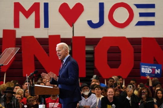 Democratic presidential candidate and former Vice President Joe Biden speaks to a crowd during a Get Out the Vote event at Renaissance High School in Detroit on Monday, March 9, 2020.