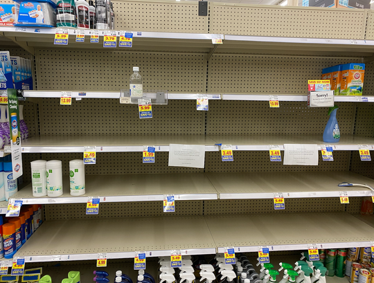 Only three disinfectant wipes remain at a Kroger in Livonia