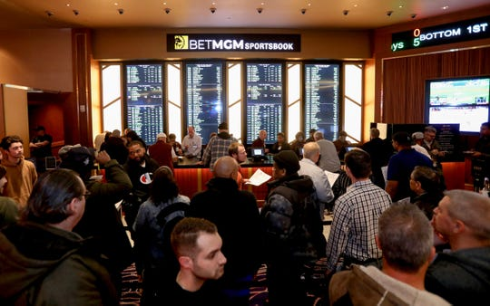 An overall look at the MGM Grand Detroit sports betting & entertainment venue called BetMGM Sports Lounge at its casino in Detroit, Michigan on Wednesday, March 11, 2020.