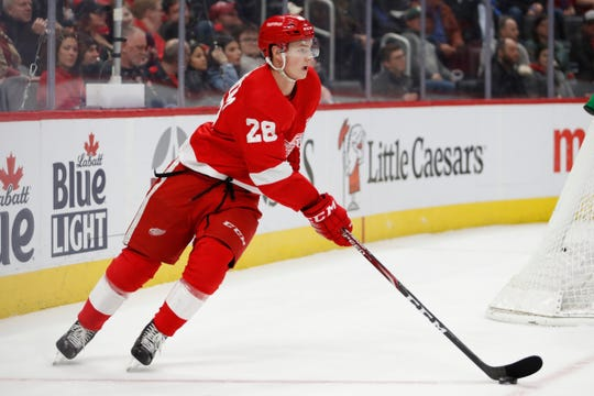 Detroit Red Wings defenseman Gustav Lindstrom skates with the puck against the Carolina Hurricanes during the first period Tuesday, March 10, 2020, in Detroit.