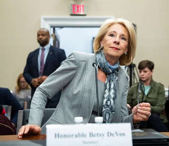 Education Secretary Betsy DeVos testifies during a hearing on the fiscal year 2021 budget, on Capitol Hill, in this Feb. 27, 2020, file photo.