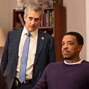 "Michael Imperioli as Det. Mike Sellitto and Russell Hornsby as Lincoln Rhyme on ""Lincoln Rhyme: Hunt for the Bone Collector."""