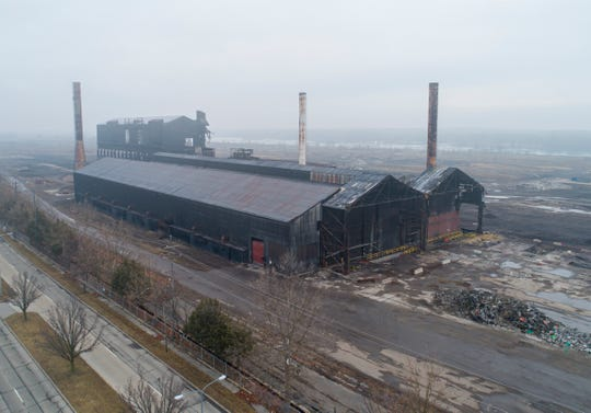 Aerial view of the McClouth Steel site in Trenton on Wednesday.