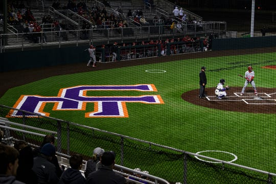 The Indiana University Hoosiers take on the University of Evansville Purple Aces at the newly renovated German American Bank Field at Charles H. Braun Stadium in Evansville, Ind., Tuesday, March 10, 2020. The Purple Aces defeated the Hoosiers, 5-4.