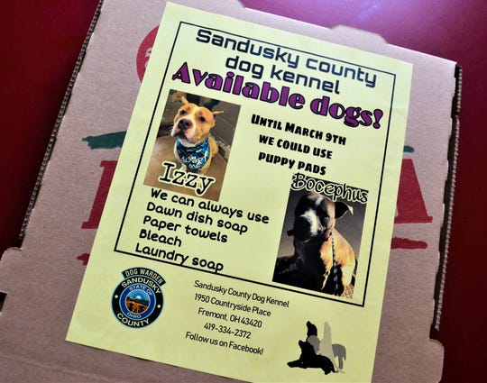 Izzy and Bocephus, two of the dogs available at the Sandusky County Dog Kennel, were recently featured on pizza boxes at Big D's Pizza in Clyde.