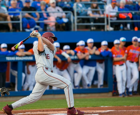 Seminoles Robby Martin with a single in the top of the first inning against the Gators, Tuesday, March 10, 2020 at McKethan Stadium in Gainesville.