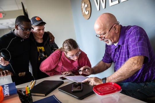 """Robert """"Skeeter"""" Powell, founder of David's Table, a nonprofit providing resources for teens and young adults with disabilities, takes attendance during a Monday Club session at Rocky Creek Baptist Church Monday, March 9, 2020."""