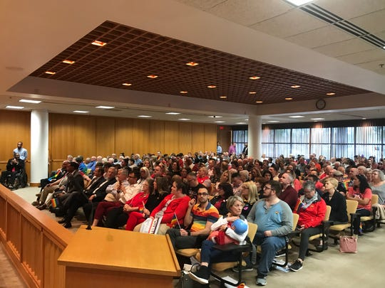 A crowd gathers in Greenville County Council chambers for a vote rescinding a 1996 anti-gay resolution on March 11, 2020.