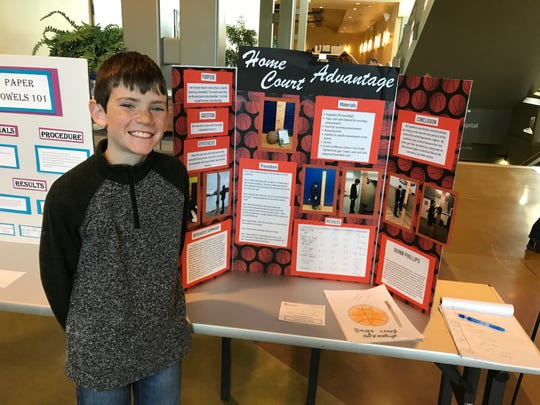 Quinn Phillips, a fourth-grader at Highland Park Elementary in Lewistown, combined his passion for basketball with his project for the Montana Region II Science and Engineering Fair at Great Falls College on Tuesday.