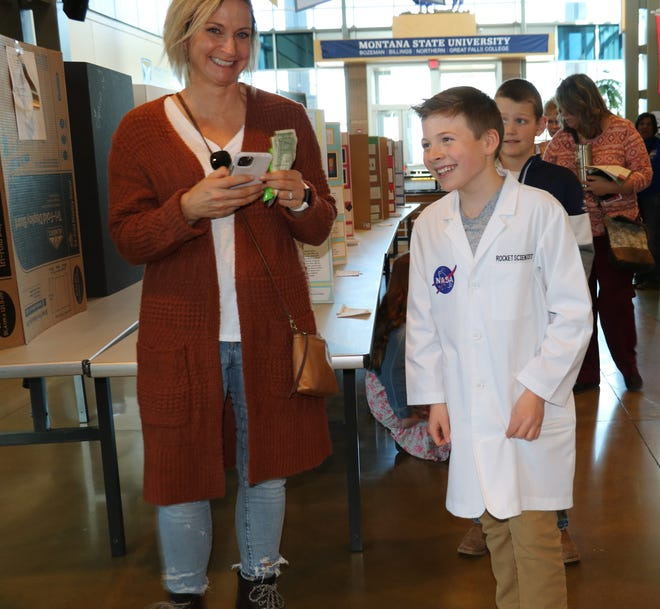 Van Lutz, a fourth-grader at Highland Park Elementary in Lewistown who wants to become a NASA engineer, built a combustion engine for the Montana Region II Science and Egnineering Fair at Great Falls College on Tuesday.