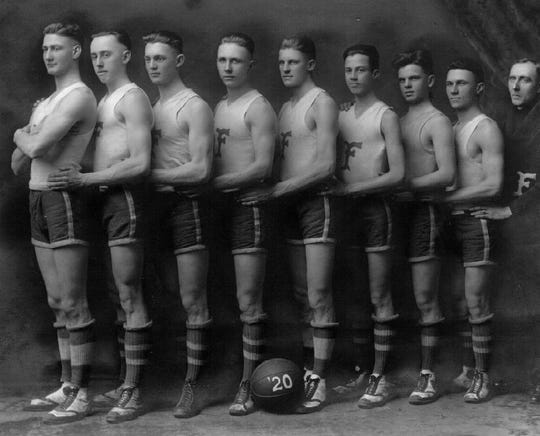 When it all started. A 1920 photo of the Franklin Wonder Five, the year they won their first championship. From left to right, Burl Friddle, Ralph Hicks, Paul White, Fuzzy Vandivier, Sima Comer, Johnny Gant, Harold Borden, Pete Keeling and Coach 'Griz' Wagner.
