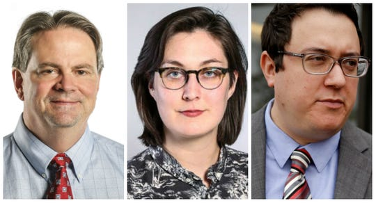 From left, IndyStar investigative reporters Tim Evans, Emily Hopkins and Tony Cook