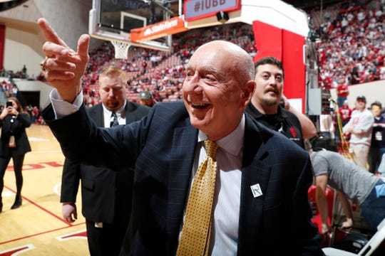 Feb 8, 2020; Bloomington, Indiana, USA; ESPN announcer Dick Vitale points to the fans before the Purdue Boilermakers play against the Indiana Hoosiers at Simon Skjodt Assembly Hall.