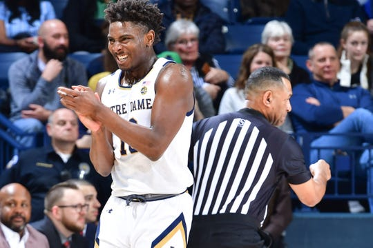 Mar 7, 2020; South Bend, Indiana, USA; Notre Dame Fighting Irish guard T.J. Gibbs (10) reacts in the first half against the Virginia Tech Hokies at the Purcell Pavilion.