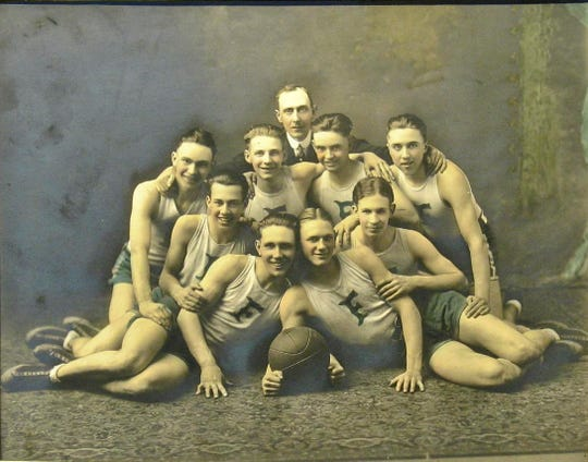 A photo of the Franklin Wonder Five in 1922, the year they won their third straight high school title.
