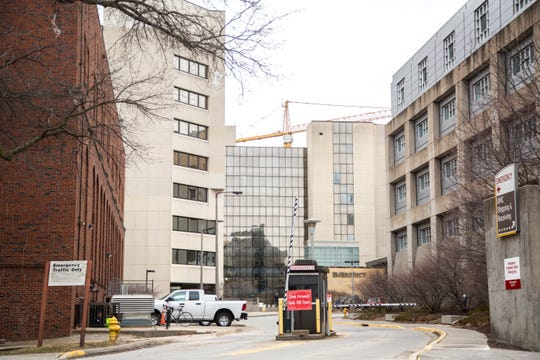 The Emergency entrance is seen, Wednesday, March 11, 2020, at the University of Iowa Hospitals and Clinics in Iowa City, Iowa.
