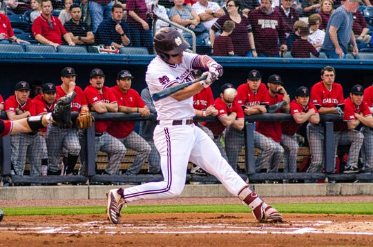 Mississippi State junior Justin Foscue went 1-for-3 with a run scored and a run driven in during the Bulldogs' 6-3 victory over Texas Tech.