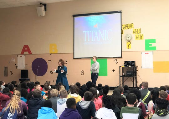 """Iceland's Brynjar Karl Birgisson, the famous Titanic """"Lego Boy,"""" returned to East Tennessee last week for the premiere of the documentary """"How Titanic Became My Lifeboat"""". He spoke to around 5,000 East Tennessee students and invited them to attend a free screening on March 7. Dogwood Elementary School, March 6, 2020."""