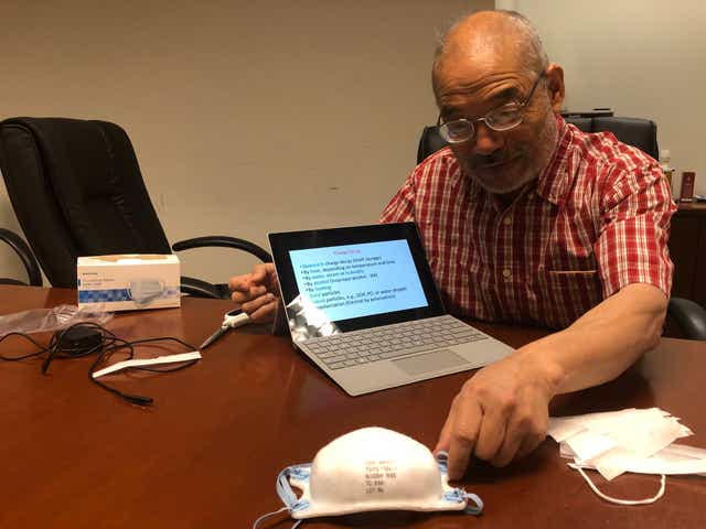 Peter Tsai stopped by the Knoxville News Sentinel offices to explain how his nonwoven filter cloth technology worked.