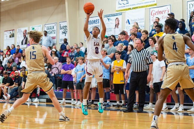 Elijah Pete takes a shot as Lafayette Christian Academy takes on the Episcopal Knights in the semi finals. Tuesday, March 10, 2020.