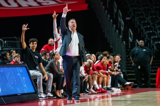 UL's head coach Garry Brodhead calls a play to his players as the Ragin' Cajuns take on the Georgia Southern Eagles during the opening game of the Sun Belt tournament at the Cajundome on March 3, 2020.