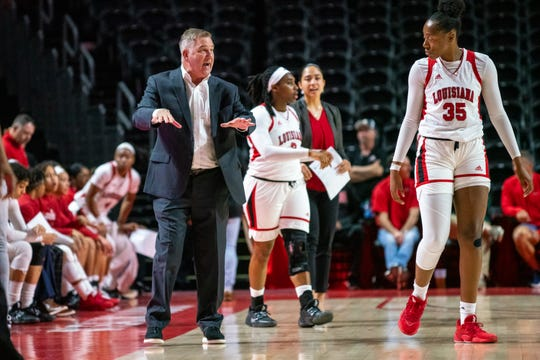 UL women's basketball coach Garry Brodhead talks to his players during a game against Georgia Southern earlier this month.
