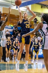 Hartland's Whitney Sollom scored 19 points and grabbed 13 rebounds in a 61-52 victory over West Bloomfield in a regional semifinal on Tuesday, March 10, 2020 at Walled Lake Western.