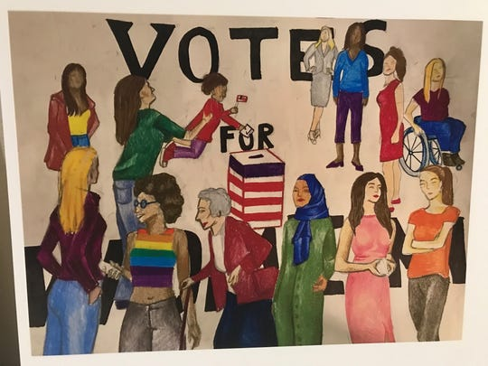 A poster created by a high school student for the BallotBox poster contest. BallotBox is an art exhibit and series of public programs to engage voters in 2020.