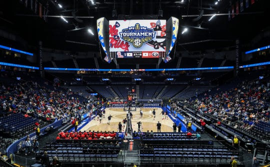 Fans fill in the lower level seats at Bridgestone Arena before the start of the 2020 SEC men's college basketball tournament on Wednesday. Though other conferences have cancelled tournaments or closed it to fans, the SEC Tournament Wednesday opened to the public. March 11, 2020.