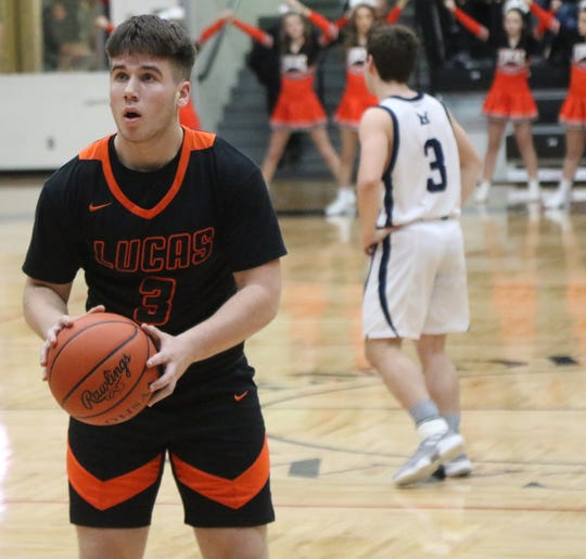 Lucas' Ethan Wallace shared team-high scoring honors with Logan Niswander as they scored 13 points apiece in a win over McDonald.