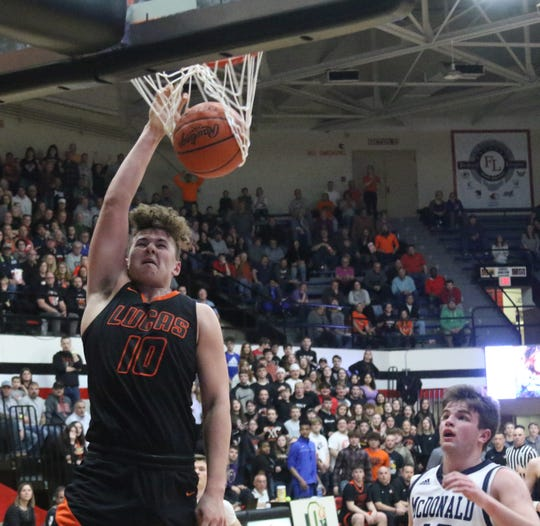 Lucas senior Logan Niswander was named the 2019-20 Mansfield News Journal Boys Basketball Player of the Year.