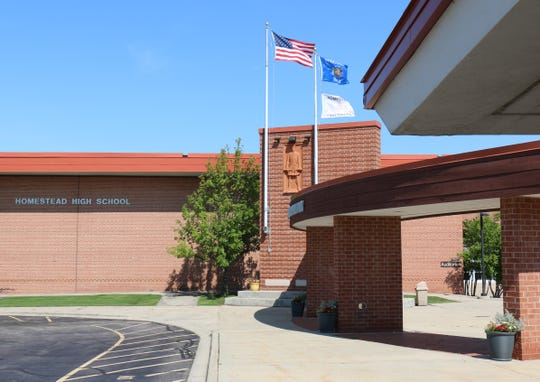 Homestead High School would receive a more identifiable main visitor entrance if voters approve a $55.7 million referendum April 7.