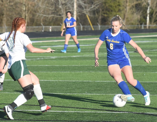 Mountain Home's Sarah Swonger eyes the goal during the Lady Bombers' 5-0 victory over Greene County Tech on Tuesday night.