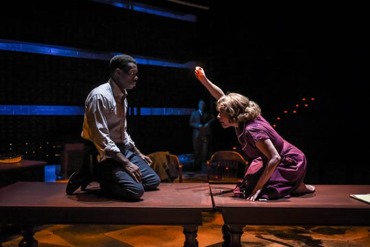"""Terrell Donnell Sledge and Madeleine Lambert in a scene from """"Alabama Story,"""" which runs through March 22 at Alabama Shakespeare Festival."""