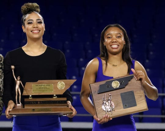 Madison Hayes, of East Hamilton, left received the Class AAA Miss Basketball award during the 2020 TSSAA Mr. and Miss Basketball awards ceremony on Tuesday, March 10, 2020, at MTSU, and Alasia Hayes, of Riverdale, right, was a finalist.
