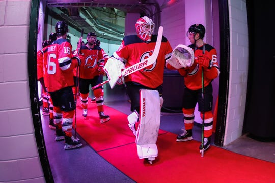 Mar 10, 2020; Newark, New Jersey, USA; New Jersey Devils goaltender Mackenzie Blackwood (29) walks to the ice before the first period of their game against the Pittsburgh Penguins at Prudential Center.
