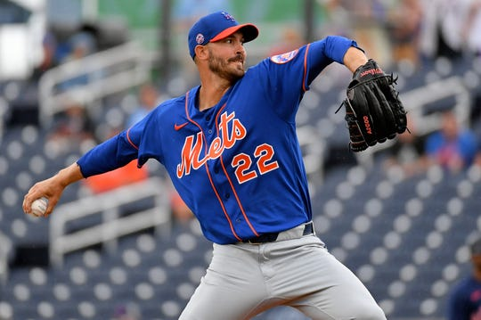 Mar 10, 2020; West Palm Beach, Florida, USA;  New York Mets starting pitcher Rick Porcello (22) delivers a pitch in the second inning of the spring training game against the Houston Astros at FITTEAM Ballpark of the Palm Beaches.