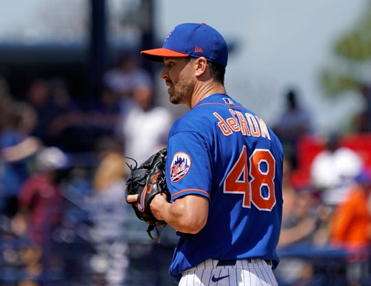Mar 11, 2020; Port St. Lucie, Florida, USA; New York Mets starting pitcher Jacob deGrom (48) delivers a pitch during a spring training game against the St. Louis Cardinals at Clover Park.