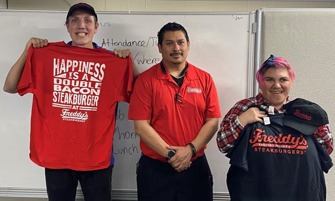 Joe Flores, general manager at Freddy's Frozen Custard & Steakburgers, is giving the opportunity to do an internship for participants in Project SEARCH. Participants Alex Lemke and Kassandra Silva are currently part of Project SEARCH through the Gadsden Independent School District.