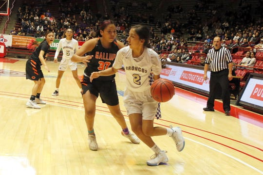 Kirtland Central's Teghan Begay drives by a Gallup defender during the first half of their 4A quarterfinals game on March 10, 2020 at The Pit in Albuquerque.