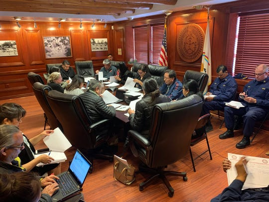 The Navajo Nation COVID-19 Preparedness Team meets on Feb. 28 at the Office of the President and Vice President in Window Rock, Arizona.
