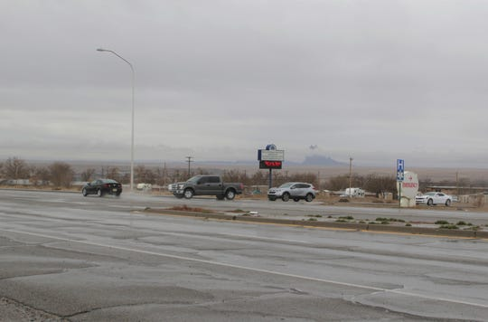 Vehicles wait to enter the southbound lane of U.S. Highway 491 on March 11 in Shiprock. A veto by Gov. Michelle Lujan Grisham eliminated funding for traffic lights the Shiprock Chapter wanted to place at this intersection near Northern Navajo Medical Center.